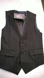NWT - Ultra Slim Fit Black Fancy Formal 3 Button Fullback Vest - Mens Small