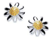 Lovely Genuine 925 Hallmarked Sterling Silver & Gold Daisy Flower Stud Earrings