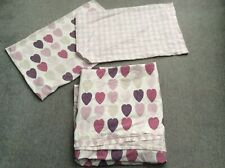 Double Duvet Cover Bed Set - White with Pink & Purple Hearts