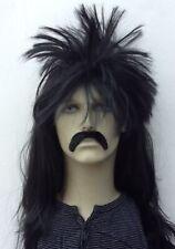 LONG PUNK STYLE BLACK SPIKEY FANCY DRESS WIG & DROOP MOUSTACHE. UK DISPATCH