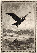 EAU FORTE / Fables de la Fontaine 1883 / LE CORBEAU VOULANT IMITER L'AIGLE