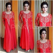 Indian Stylish Designer Bollywood Red Gown Party Wear Anarkali Suit Salwar Dress