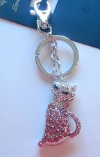 Key Ring/Fob -CAT metal-pink silver- sparkly stones- split ring hook