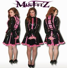 Misfitz black pvc/hot pink satin lockable maids dress  Size 8-32/made to measure