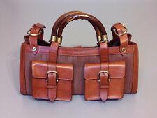 BURBERRY PRORSUM Brown Leather Bag Satchel Handbag Bamboo Handles Authentic