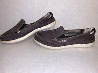 Women's Crocs Walu Gray Canvas Loafers Shoes Size 6