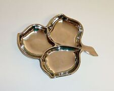 1074~Vintage Silver Mirror Pressed Glass Leaf Shaped Candy Nut Divided Dish**