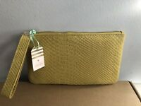 OASIS WOMENS LEATHER YELLOW/MUSTARD SMALL CLUTCH BAG PURSE