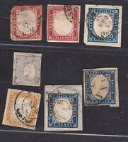 Regno di Sardegna IV emissione Lotto di 3 frammenti e 4 annullati