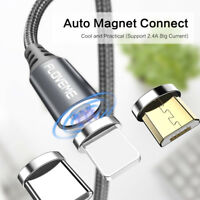 Braided Magnetic fr Lightning Type-C Micro USB Charger Cable For iPhone Samsung