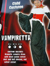 Black Velvet Vampire Dress Gown Bell Sleeves Witch Costume Halloween Girl M 7/10