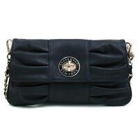 New Women's Handbag Faux Leather Gold-Kissed Pleated Clutch Crossbody Bag Black