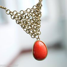 Fun Daisy  Red Stone  Necklace