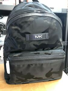 MICHAEL KORS KENT CAMOFLAUGE CAMO TECH NYLON & LEATHER BACKPACK BOOKBAG