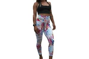 Ladies High Waist Fitness Tights Ethic Skull Print Size 8, 10, 12, 14