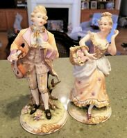 Pair ANDREA Porcelain Bisque Detailed MAN WOMAN COURTING Colonial Victorian