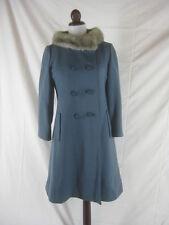 Vtg 50s 60s Blue Womens Vintage Wool & Mink Princess Coat Jacket W 34