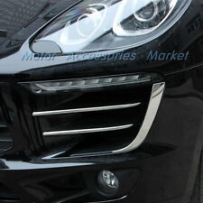New 6pcs Chrome Front Side Grille Cover Trim Fit For Porsche Macan S 2014-2017