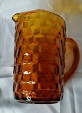 Fostoria Glass Water Pitcher Optic Cube Amber Ice Lip Vintage