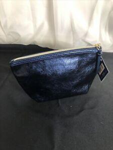 """ULTA Beauty Blue Metallic Makeup Case Gold Zipper 9.5"""" x 5.5"""" NEW"""