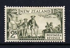 NEW ZEALAND 1936-42 2/- OLIVE-GREEN 'COQK' FLAW PERF 13½ x 14 SG 589ca MINT.