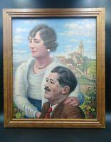 Tableau ancien portraits 1930 paysage