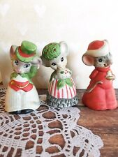 Lot Of Vintage Jasco Ceramic Mouse Bells Figurine Christmas Holiday