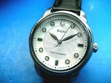BULOVA PRECISIONIST 96P124 8 REL DIAMONDS LADIES DRESS WATCH S/S ANALOG/DATE