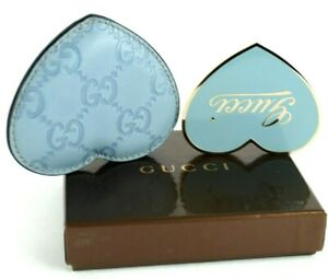 Auth GUCCI Guccissima Sky Blue Leather Heart Shape Compact Mirror W/ Case Italy