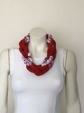 Necklace Finger Knitted Scarf Braided Chain Handmade Jewellery Red