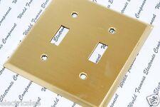 1pcs-COOPER 94072 Toggle  Brass Receptacle Wallplate 2-Gang