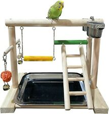 Bird perch playground stand with stainless steel feeder cups ladder bell toys