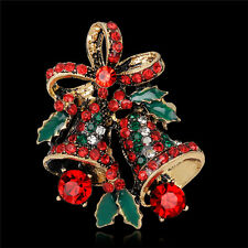 Fashion Christmas Rhinestone Cute Christmas Bell Brooch Pin Xmas Gift Party HGUK