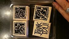 "Stampin' Up ""Thank You blocks"" 4 Stamps, Thank You, Flower, Butterfly,Leaf"