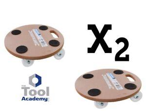 2x Silverline ROUND Dolly Trolley Platform Wheel 250KG Easy Movement Heavy Items