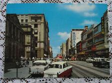 Vintage Postcard: Queen St. Brisbane - Old Cars / Holden & Tram Lines QLD