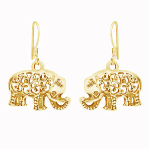 Filigree Swirl Elephant Dangle Earrings in 14K Yellow Gold Over