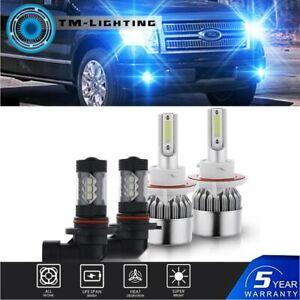 4x 8000K LED Headlight Hi/Lo + Fog Light Bulbs Combo For 2004-2014 Ford F-150