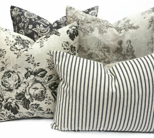 Cabbages and Roses Fabric French Toile Linen Floral Black Cushion Pillow Cover