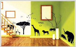 Wandtattoo Afrika Savanne Elefant Giraffe Serengeti Gepard Schlafzimmer 9186