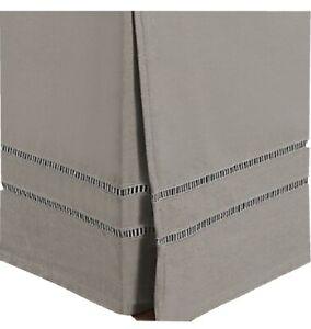 Linen Weave Hemstitch Bed Skirt Twin- White