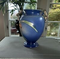 "ROSEVILLE MARKED 8 3/8"" BLUE PINECONE #844-8 TWIG HANDLED VASE -  Circa 1935"