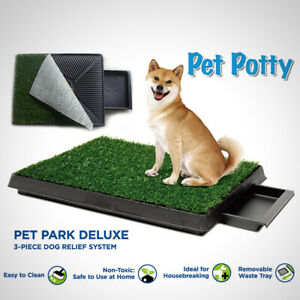 Indoor Dog Puppy Pet Grass Toilet Loo Potty Training Mat Pad Tray Portable