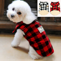 Winter Warm Dog Clothes Small Medium Coats Jacket Plaid Apparel for Pet Puppy