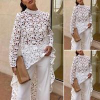 VONDA Women Long Sleeve Asymmetric Long Shirt Summer Hollow High Low Blouse Top
