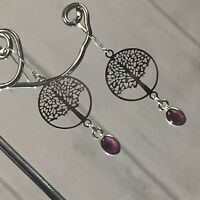 Garnet & Lightweight Tree Of Life 925 Sterling Silver Stamped hook Earrings