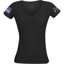 Grunt Estilo Feminino Colorido Bandeira Básico Decote V Camiseta-Preto
