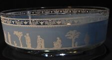 VINTAGE GLASS BOWL WITH TURQUOISE GRECIAN THEME GRAPHICS W/HEXAGON BASE