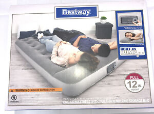 Bestway Full Size 12 In Height Inflatable Air Mattress Built in A/C Pump Camping