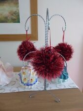 Hand knitted Christmas Tinsel Bauble Red with black